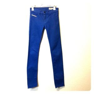 Electric blue faded/washed jeans
